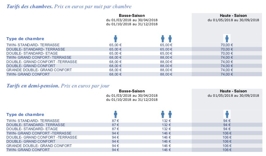 Tarifs hôtel Auberge du Barrez 2018